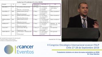 Tratamiento sistémico en cáncer de mama metastásico en 2018. ( Dr. César Sánchez - Pontificia Universidad Católica de Chile, Santiago, Chile. )