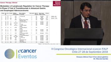 Ensayos clínicos Fase I-II en cáncer gástrico. ( Dr. Marcelo Garrido - Pontificia Universidad Católica de Chile, Santiago, Chile. )