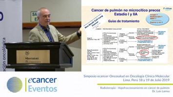 Radioterapia - Hipofraccionamiento en cáncer de pulmón ( Dr. Luis Larrea - Hospitales NISA-VITHA, Valencia, España. )