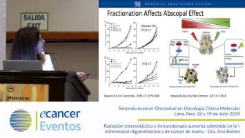 Radiación estereotáctica e inmunoterapia aumenta sobrevida en la enfermedad oligometastásica de cáncer de mama. ( Dra. Ana Botero - Memorial Cancer Institute, Memorial Healthcare System, Florida, USA )