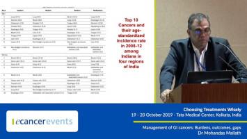 Management of GI cancers: Burdens, outcomes, gaps ( Dr Mohandas Mallath - Tata Medical Center, Kolkata, India )